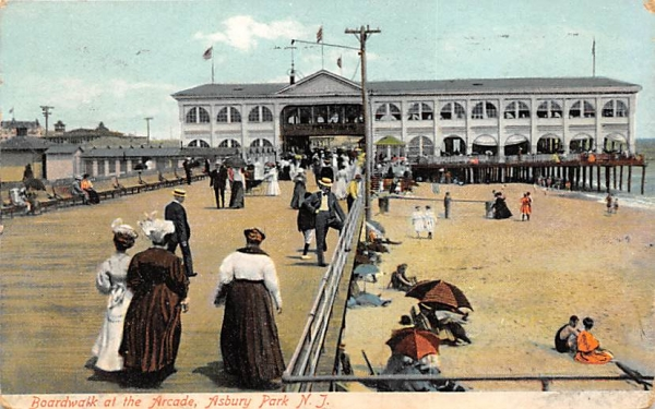 Boardwalk at the Arcade Asbury Park, New Jersey Postcard