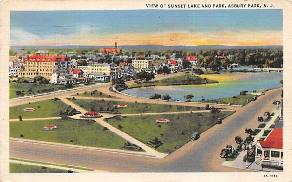 View of Sunset Lake and Park Asbury Park, New Jersey Postcard