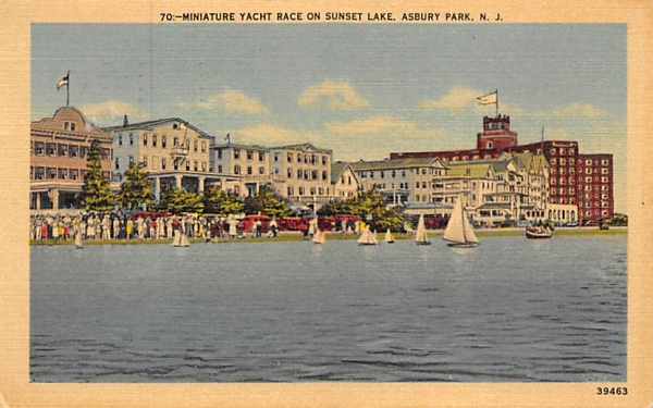 Miniature Yacht Race on Sunset Lake Asbury Park, New Jersey Postcard