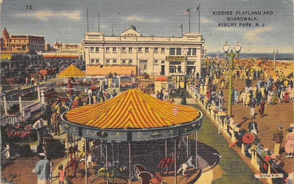 Kiddies Playland and Boardwalk Asbury Park, New Jersey Postcard