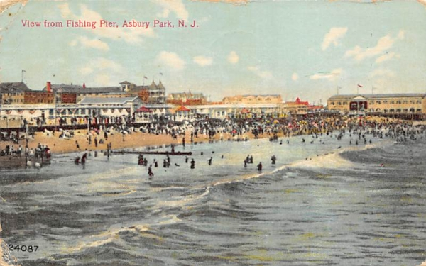 View from Fishing Pier Asbury Park, New Jersey Postcard