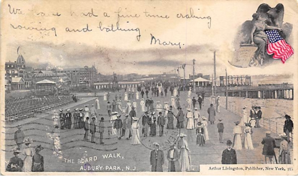 The Board Walk Asbury Park, New Jersey Postcard