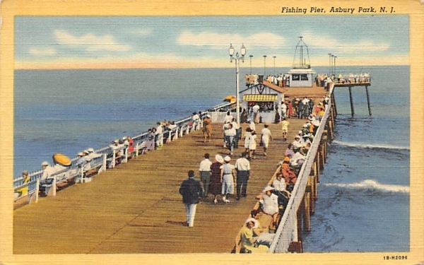 Fishing Pier Asbury Park, New Jersey Postcard