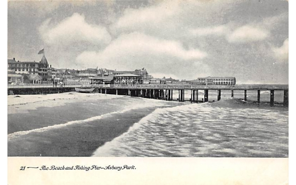 The Beach and Fishing Pier Asbury Park, New Jersey Postcard