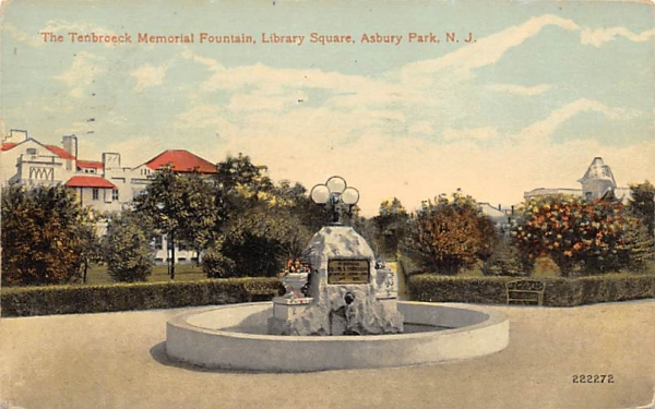 Tenbroeck Memorial Fountain, Library Square Asbury Park, New Jersey Postcard