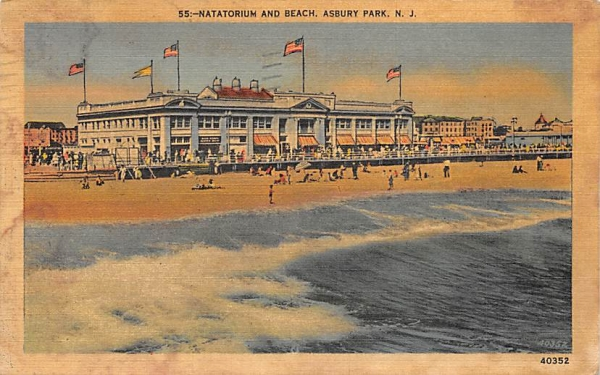 Natatorium and Beach Asbury Park, New Jersey Postcard