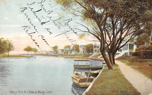 View on Wesley Lake Asbury Park, New Jersey Postcard