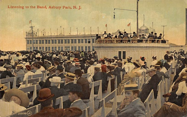 Listening to the Band Asbury Park, New Jersey Postcard