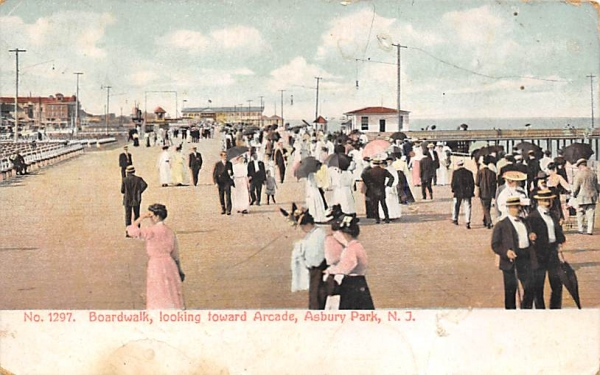 Boardwalk, looking toward Arcade Asbury Park, New Jersey Postcard