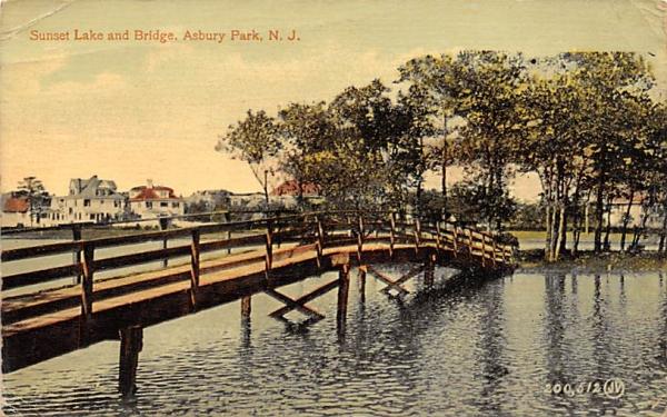 Sunset Lake and Bridge  Asbury Park, New Jersey Postcard