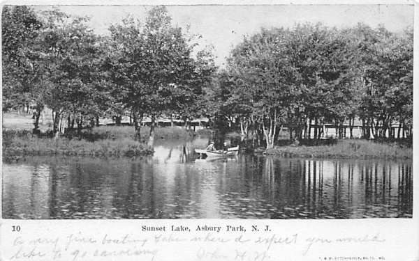 Sunset Lake Asbury Park, New Jersey Postcard