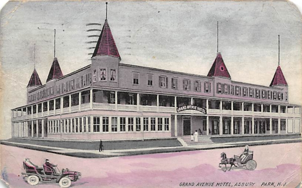Grand Avenue Hotel Asbury Park, New Jersey Postcard
