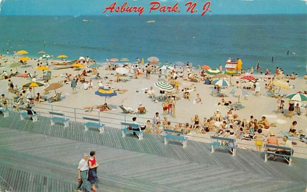 Beach and Boardwalk Asbury Park, New Jersey Postcard