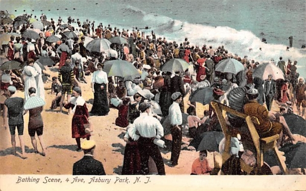 Bathing Scene  Asbury Park, New Jersey Postcard