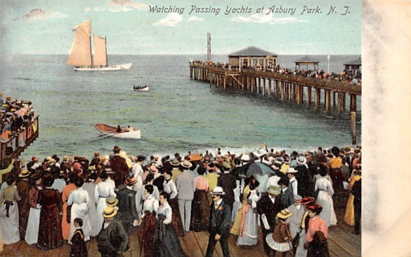 Watching Passing Yachts Asbury Park, New Jersey Postcard