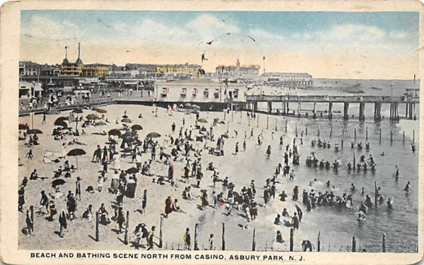 Beach and Bathing Scene North from Casino Asbury Park, New Jersey Postcard