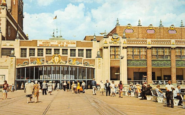 Boardwalk and famous Convention Hall Asbury Park, New Jersey Postcard