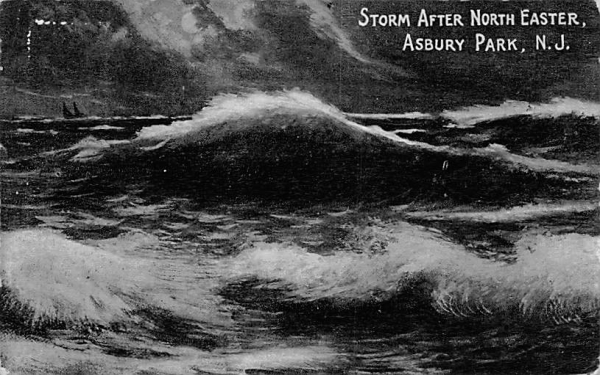 Storm After North Easter Asbury Park, New Jersey Postcard