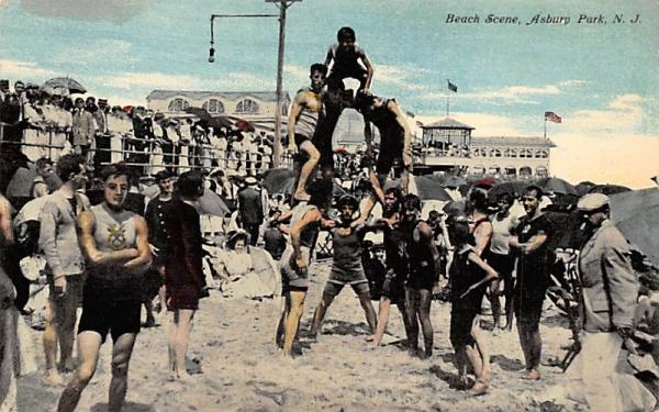Beach Scene Asbury Park, New Jersey Postcard