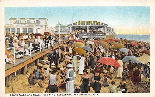 Board Walk and Beach, showing Esplanade Asbury Park, New Jersey Postcard