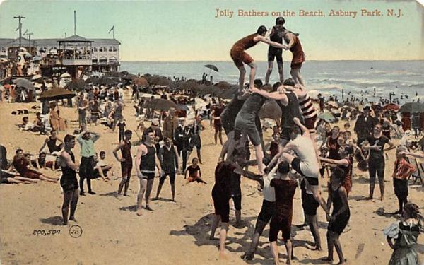 Jolly Bathers on the Beach  Asbury Park, New Jersey Postcard