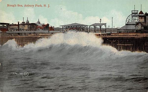 Rough Sea Asbury Park, New Jersey Postcard