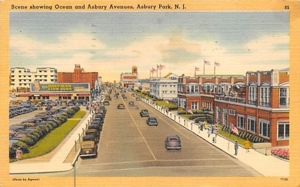 Scene showing Ocean and Asbury Avenues Asbury Park, New Jersey Postcard