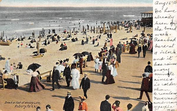 Beach at foot of Wesley Lake Asbury Park, New Jersey Postcard