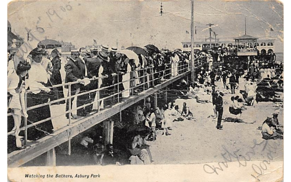 Watching the Bathers Asbury Park, New Jersey Postcard