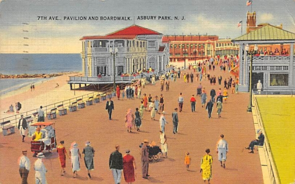 7th Ave. Pavilion and Boardwalk Asbury Park, New Jersey Postcard