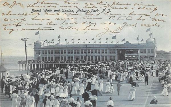 Board Walk and Casino Asbury Park, New Jersey Postcard
