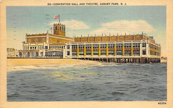 Convention Hall and Theatre Asbury Park, New Jersey Postcard