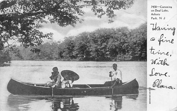 Canoeing on Deal Lake Asbury Park, New Jersey Postcard