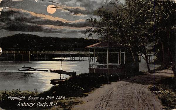 Moonlight Scene on Deal Lake Asbury Park, New Jersey Postcard