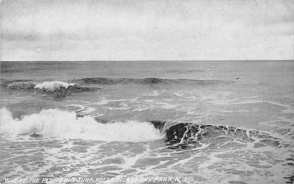 Where the Plunging Surf Rolls In Asbury Park, New Jersey Postcard