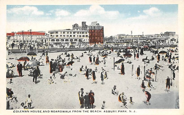 Coleman House and Boardwalk from Beach Asbury Park, New Jersey Postcard