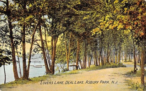 Lovers Lane, Deal Lake Asbury Park, New Jersey Postcard