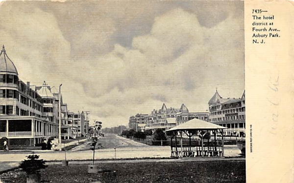 The hotel district at Fourth Ave.  Asbury Park, New Jersey Postcard