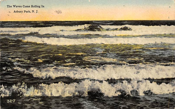 The Waves Come Rolling In Asbury Park, New Jersey Postcard