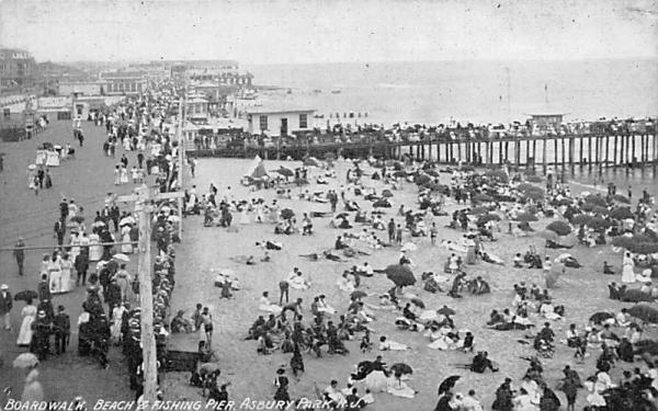 Boardwalk, Beach & Fishing Pier Asbury Park, New Jersey Postcard