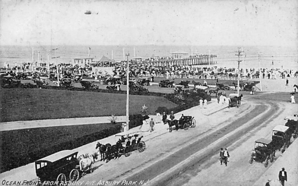 Ocean Front from Asbury Ave. Asbury Park, New Jersey Postcard