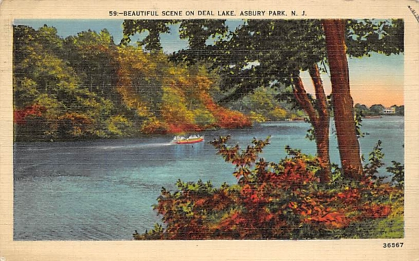 Beautiful Scene on Deal Lake Asbury Park, New Jersey Postcard
