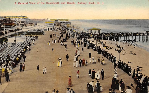 A General View of the Boardwalk and Beach Asbury Park, New Jersey Postcard