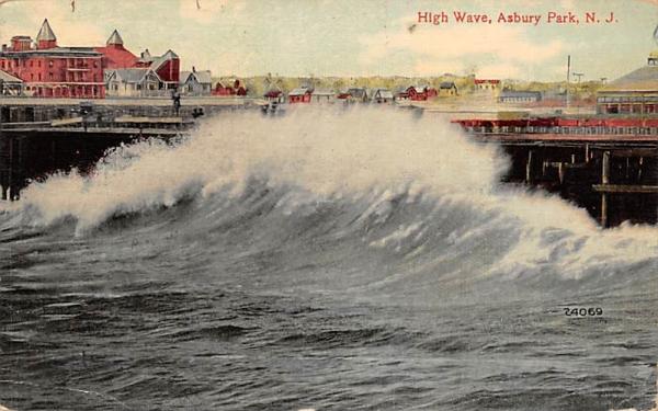 High Wave Asbury Park, New Jersey Postcard