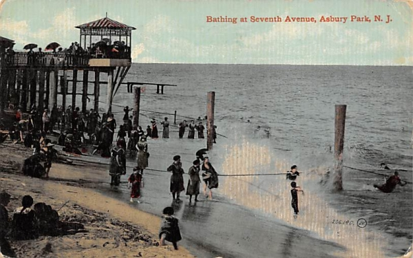 Bathing at Seventh Avenue Asbury Park, New Jersey Postcard