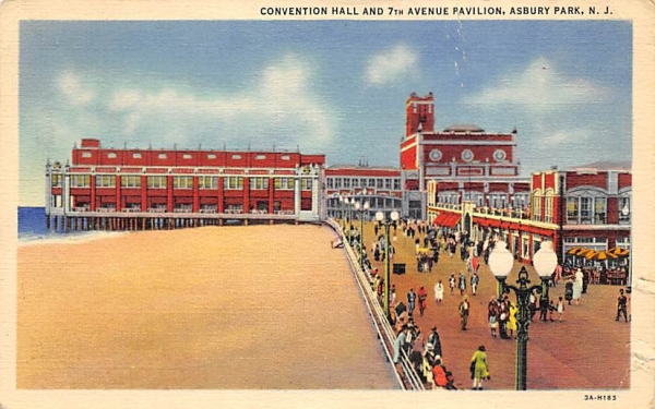 Convention Hall and 7th Avenue Pavilion Asbury Park, New Jersey Postcard