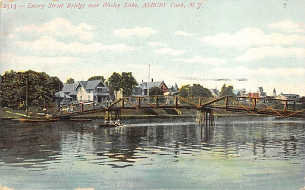 Emory Street Bridge over Wesley Lake Asbury Park, New Jersey Postcard