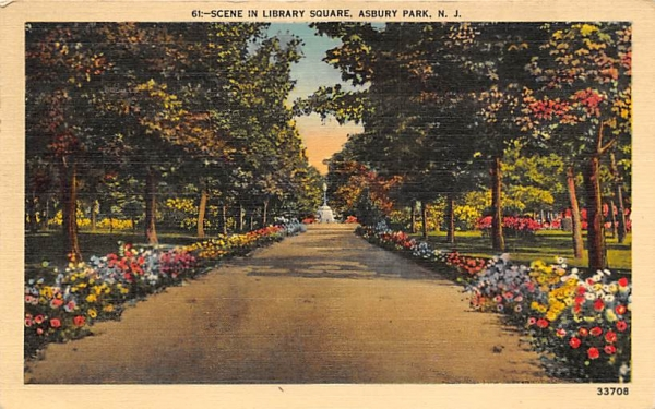 Scene in Library Square Asbury Park, New Jersey Postcard