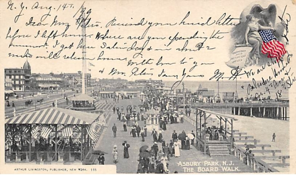 The Board Walk Asbury Park, New Jersey Postcard