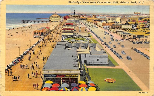 Bird's-Eye View from Convention Hall Asbury Park, New Jersey Postcard